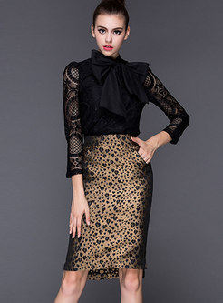 Black Lace Leopard Bodycon Suit Dress