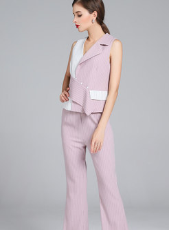 Stylish Sleeveless Hit Color Vest & High Waist Flare Pants