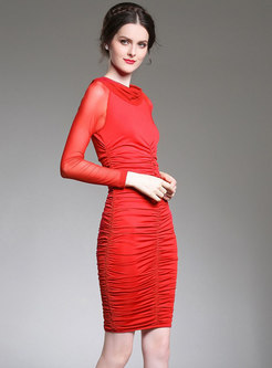Red Mesh Perspective Long Sleeve Wrap Bodycon Dress