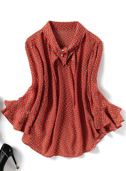 Stylish Print Flare Sleeve Turn Down Collar Pullover Blouse