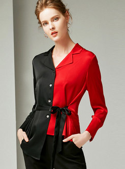 Chic Color-blocked Belted Silk Splicing Blouse