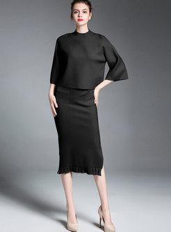Black Half Sleeve Crew-neck Top & Wrap Split Hairy Skirt