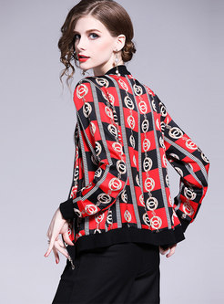 Stylish Print Stand Collar Zipper Short Coat