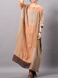 Vintage Splicing O-neck Loose Maxi Dress