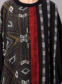 Chic Print Bat Sleeve Asymmetric Maxi Dress
