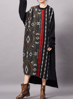 Chic Print Bat Sleeve Asymmetric Maxi Dress