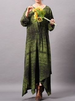 Stylish Print O-neck Long Sleeve Asymmetric Maxi Dress