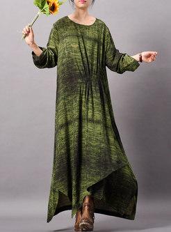 Stylish Print O-neck Long Sleeve Asymmetric Maxi Dress