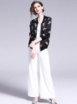 Fashion Print Zipper Stand Collar Short Coat