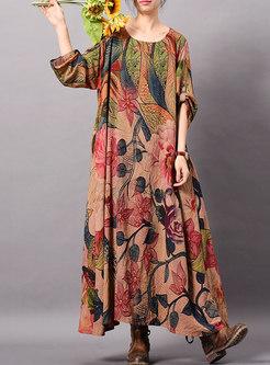 Retro Print O-neck Asymmetric Loose Dress