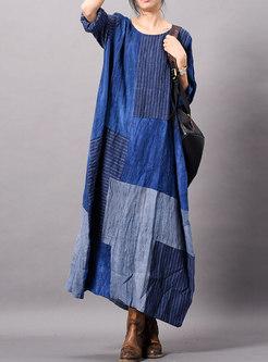 Casual Striped Splicing O-neck Loose Maxi Dress