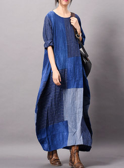 Casual Striped Splicing O-neck Loose Maxi Dress