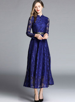 Mock Neck Long Sleeve Lace Maxi Dress
