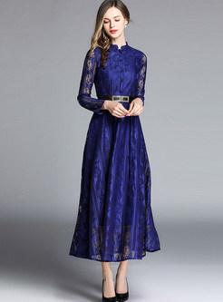 Blue Mock Neck Long Sleeve Lace Maxi Dress