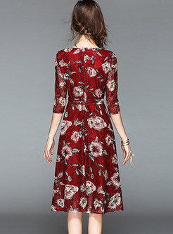 O-neck Three Quarters Sleeve Print Waist Skater Dress