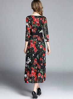 Vintage Long Sleeve Bowknot Waist Big Hem Maxi Dress