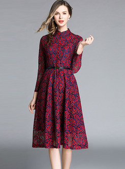 Fashion Standing Collar Long Sleeve Hollow Out Lace Dress