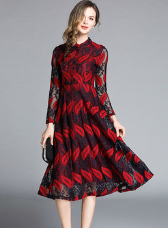 Perspective Long Sleeve Embroidered Hollow Out Skater Dress