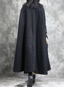 Fashion Monochrome Thicken Woolen Pockets Coat