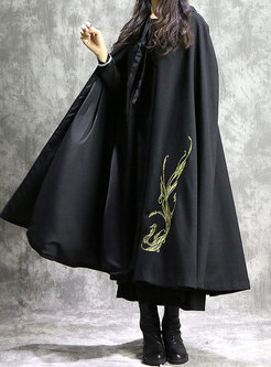 Stylish Ethnic Black Hooded Straight Kimono