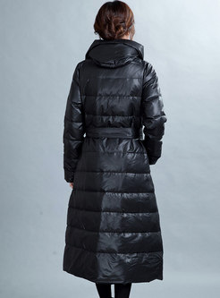 Black Hooded Tie-waist Thick Long Down Coat