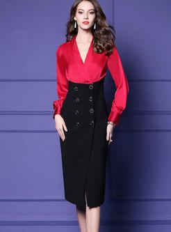 Stylish Splicing Deep V-neck Wrap Sheath Dress