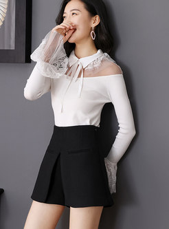 Sexy Mesh Splicing Flare Sleeve Lapel See-through Slim Knitted Sweater
