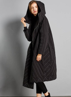 Black Hooded Striped Asymmetric Down Coat
