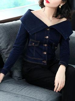 Chic Denim Off Shoulder Single-breasted Slim Short Coat