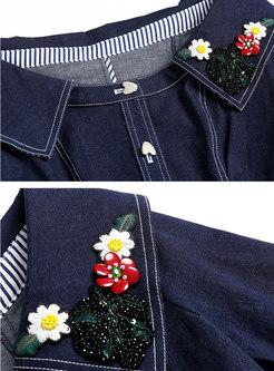 Chic Denim Slash Neck Embroidered Belted Skater Dress