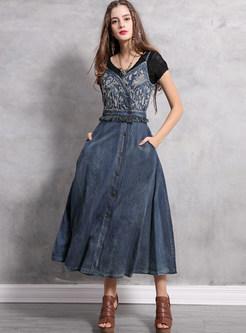 Vintage V-neck Embroidered Tassel Splicing Sling Dress