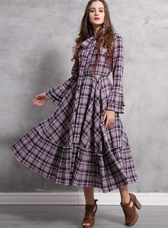 Standing Collar Bowknot Tied Plaid Big Hem Dress