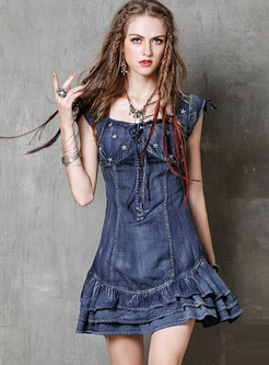 Stylish Square Neck Embroidered Tied Falbala Denim Dress