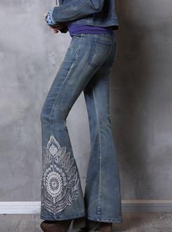Vintage Embroidered Slim Denim Flare Long Pants