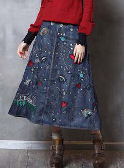 Retro High Waist Embroidered Big Hem Denim Skirt