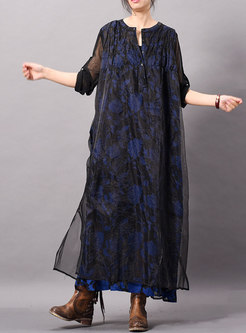 Stylish Gauze Print O-neck Three Quarters Sleeve Loose Maxi Dress