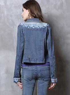 Ethnic O-neck Embroidered Slim Short Denim Coat