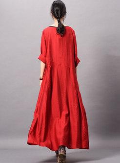 Brief Pure Color O-neck Slit Loose Maxi Dress
