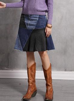 High Waist Color-blocked Splicing Denim Skirt