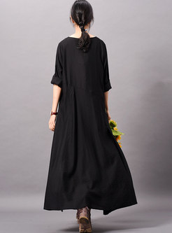 Brief Black Long Sleeve O-neck Slit Loose Maxi Dress