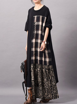 Vintage Plaid Splicing O-neck Asymmetric Loose Dress