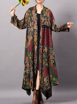 Retro Print Stand Collar Single-breasted Asymmetric Long Coat
