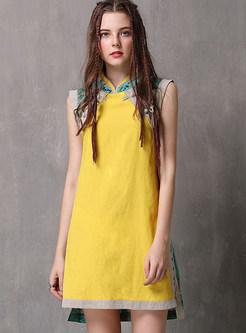 Mandarin Collar Sleeveless Cheongsam Mini Dress
