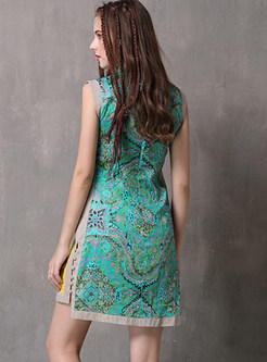 Mandarin Collar Sleeveless Improved Cheongsam Mini Dress