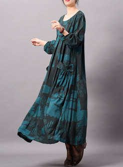 Retro Print O-neck Asymmetric Loose Ankle-length Dress