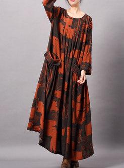 Vintage Print O-neck Asymmetric Loose Ankle-length Dress