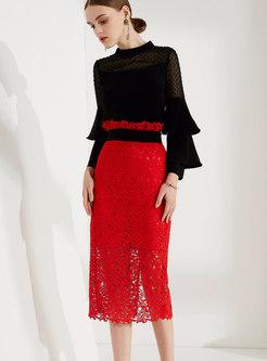 Trendy Black Flare Sleeve Top & High-rise Lace Sheath Skirt