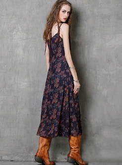 O-neck Floral Slim Sling Waist A Line Dress