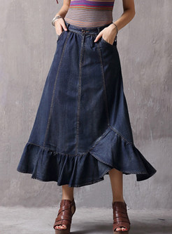 High Waist Irregular Falbala Big Hem Denim Skirt