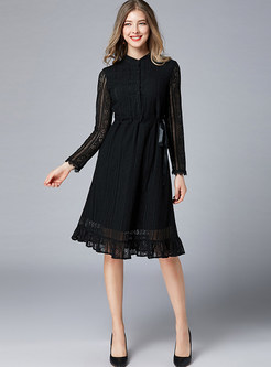 Black Standing Collar Long Sleeve Plus Size Lace Dress